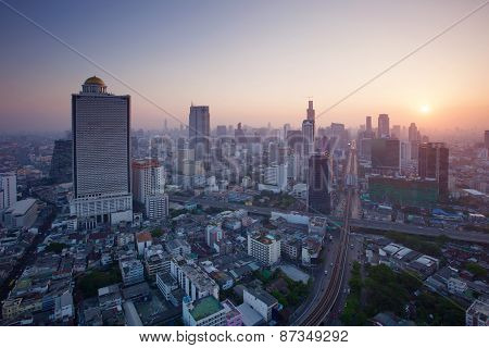 Beautiful City Scape Urban Scene  Of Bangkok Capital Of Thailand In Morning Light Glow Up View From