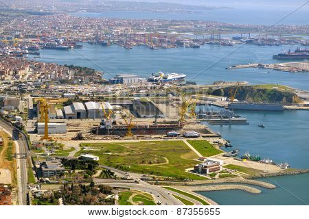 TUZLA ,ISTANBUL, TURKEY - MARCH 21, 2014: Aerial view of shipyards in Marmara sea. This shipyard zone was founded in 1960s and houses about 40 shipbuilding companies