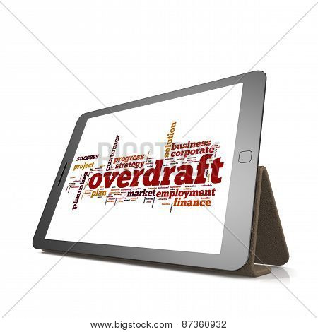 Overdraft Word Cloud On Tablet