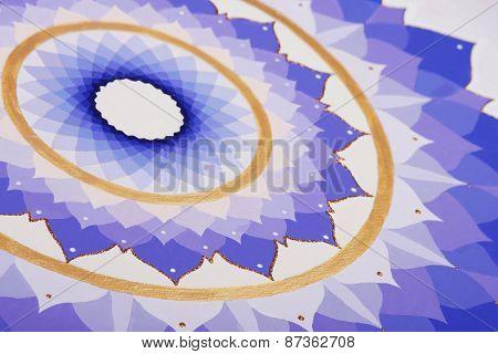abstract purple painted picture mandala of Sahasrara chakra