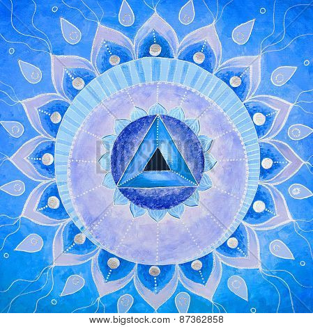 abstract blue painted picture with circle pattern, mandala of Vishuddha chakra poster