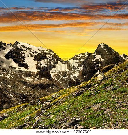 Marmolada peak at sunset