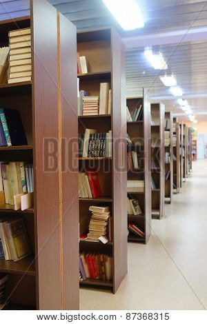 library setting with books and reading material