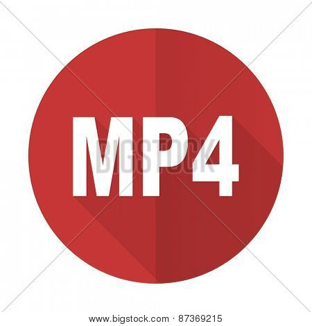 mp4 red flat icon