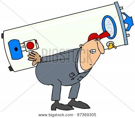Plumber carrying gas water heater