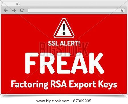 Freak - Factoring Rsa Export Keys Security - Warning In Simple Opened Browser With Shadow On White B