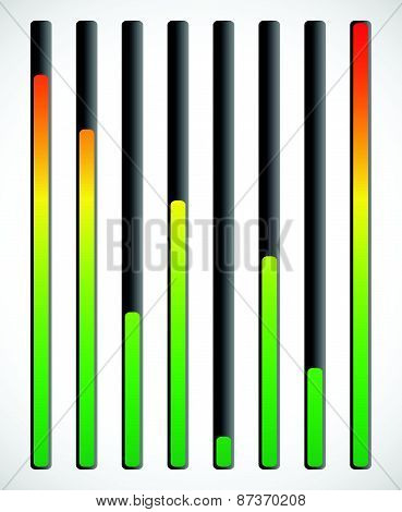 Vertical level indicator set with color code (Red at high level) poster