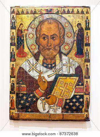 Antique Russian Orthodox Icon Of Saint Nicolas