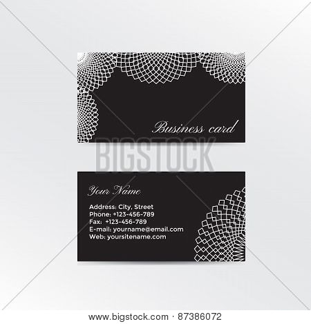 Black business card decorated white lacework