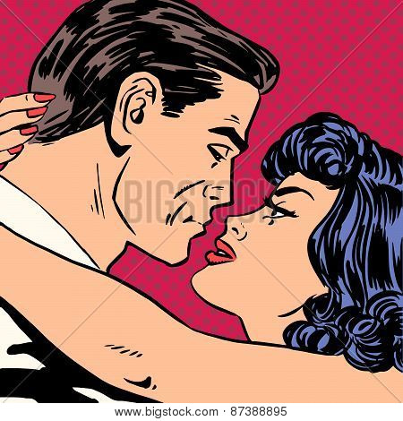 Kiss love movie romance heroes lovers man and woman pop art comics retro style Halftone. Imitation of old illustrations. Actors during love scenes. poster