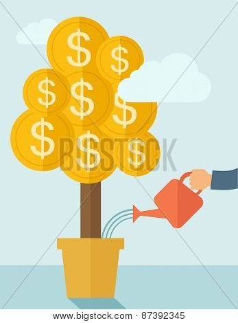 A human hand watering money dollar coin tree to grow bigger. Hardworking concept. A contemporary style with pastel palette soft blue tinted background with desaturated clouds. Vector flat design