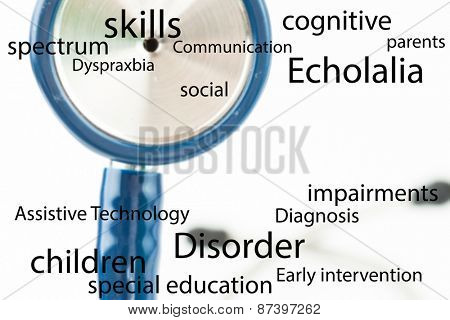 Autism terms against part of the blue stethoscope