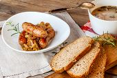 Traditional Polish soup sourdough and sausage. /?urek/ Selective focus. poster