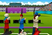 A vector illustration of archers in the archery match for sport competition series poster