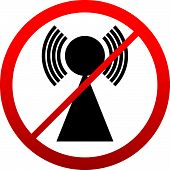 No Signal Sign. Bad antenna No Internet connection concepts. Jamming Interference icon. poster
