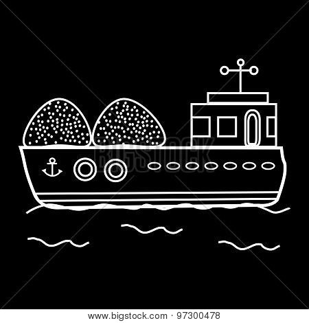 Cargo barge bulk cargo ship. Great transport floats on water poster