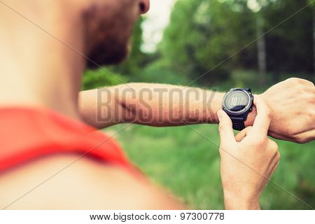 Runner Looking Checking Sport Watch