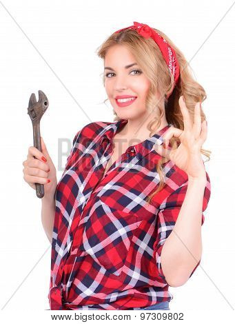 girl showing ok hand gesture pinup