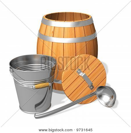 Wooden barrel and metal bucket