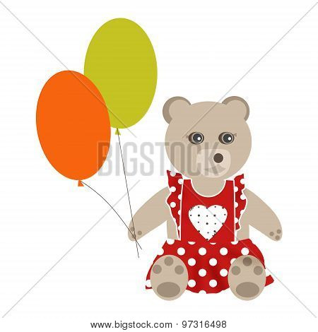Brown Teddy Bear Girl With Balloons On Isolater Background