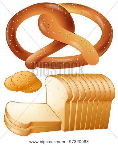Loaf of bread and salted pretzel