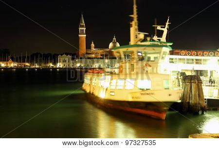 Venice, Ve - Italy. 1Oth July, 2015: Vaporetto At Night In The Water Bus Stop In Venice