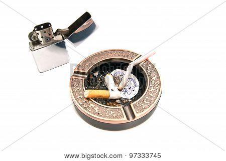 Hazards Of Smoking Concept On White