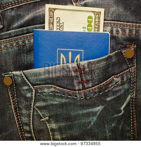 Ukrainian Passport And Cash In Jeans Pocket