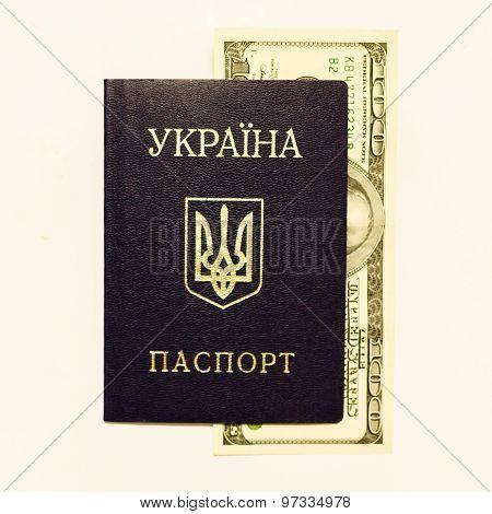 Ukrainian Passport And Cash On Whine Close Up