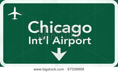 Chicago O'hare Usa International Airport Highway Road Sign