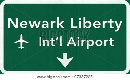 New Jersey Newark Liberty Usa International Airport Highway Road Sign