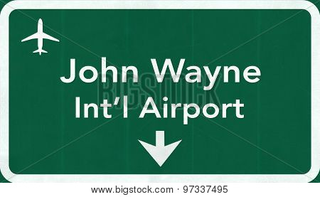 Santa Ana John Wayne Usa International Airport Highway Road Sign