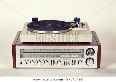 Vintage Stereo Radio Receiver with Record Player Turntable Set