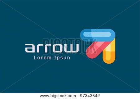 Vector arrow abstract logo template. Up, cursor icon, creative idea, arrowheads marker and dynamic or moving. Company identity. Stock illustration
