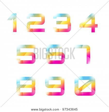 Vector 1-10 numbers font template. Count letters and sign design, school, creative icons or element, paper, arrows, glossy. Stock illustration. Design elements