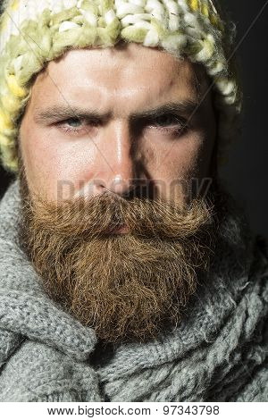 Portrait Of Morose Homeless Man