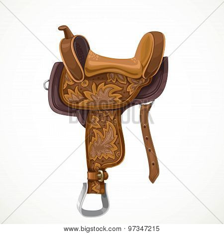 Brown Saddle With Ornaments And Embroidery For Equestrian Sport And Entertainment