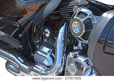 Side view of a custom motorcycle engine poster