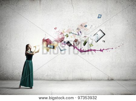 Lady playing fife