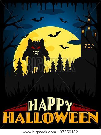 Scary Halloween background ,blue