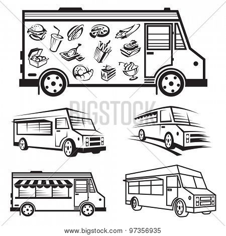 monochrome illustration of five food trucks