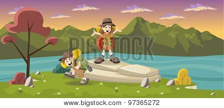 Cute cartoon kids in explorer outfit on a green park with a blue lake