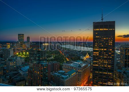 Downtown Boston at Sunset