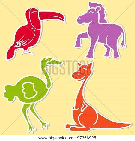 Toucan, Pony, Ostrich And Kangaroo