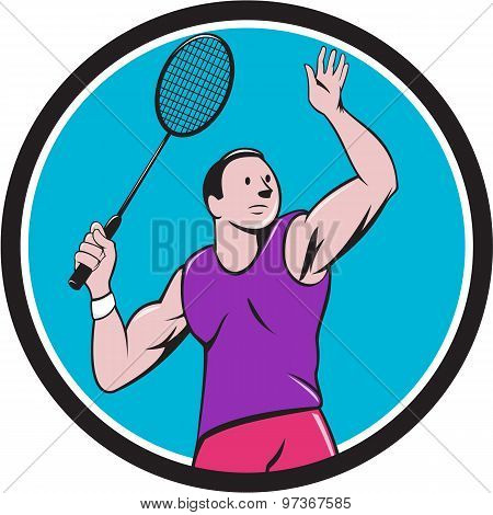 Illustration of a badminton player with racquet smashing striking set inside circle on isolated background done in cartoon style. poster