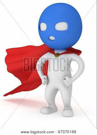 3d man brave superhero with red cloak and blue mask. Isolated on white poster