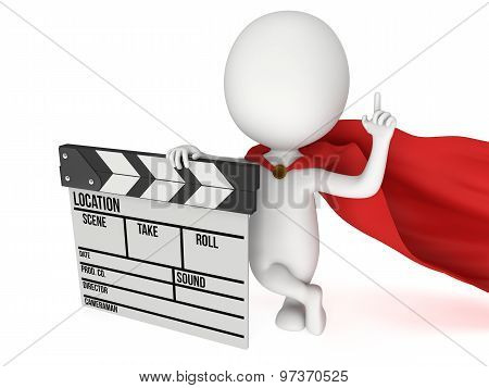 Brave superhero with cinema clapperboard. 3D render isolated on white. Filmmaking and video production. poster