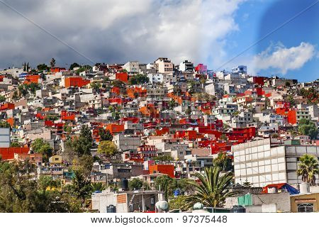 Colorful Orange Houses Suburbs Rainstorm Outskirts Mexico City Mexico