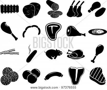 meat symbols set