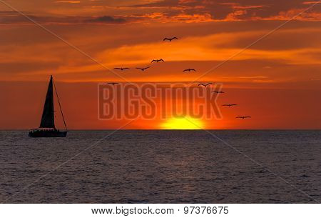 Sailboat Sunset Fantasy